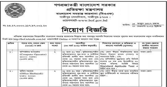 BANGLADESH ORDNANCE FACTORIES JOB CIRCULAR 2021
