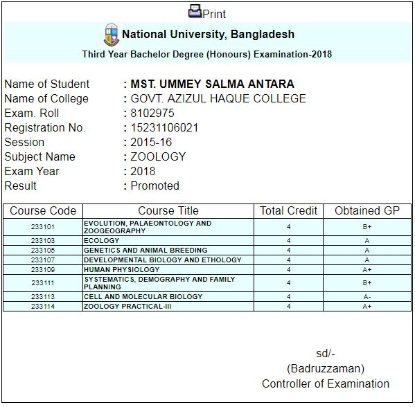 Honours 3rd year result 2019