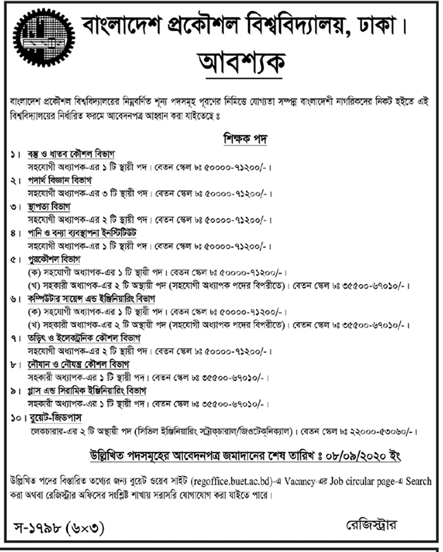 Bangladesh University of Engineering and Technology Job circular 2020