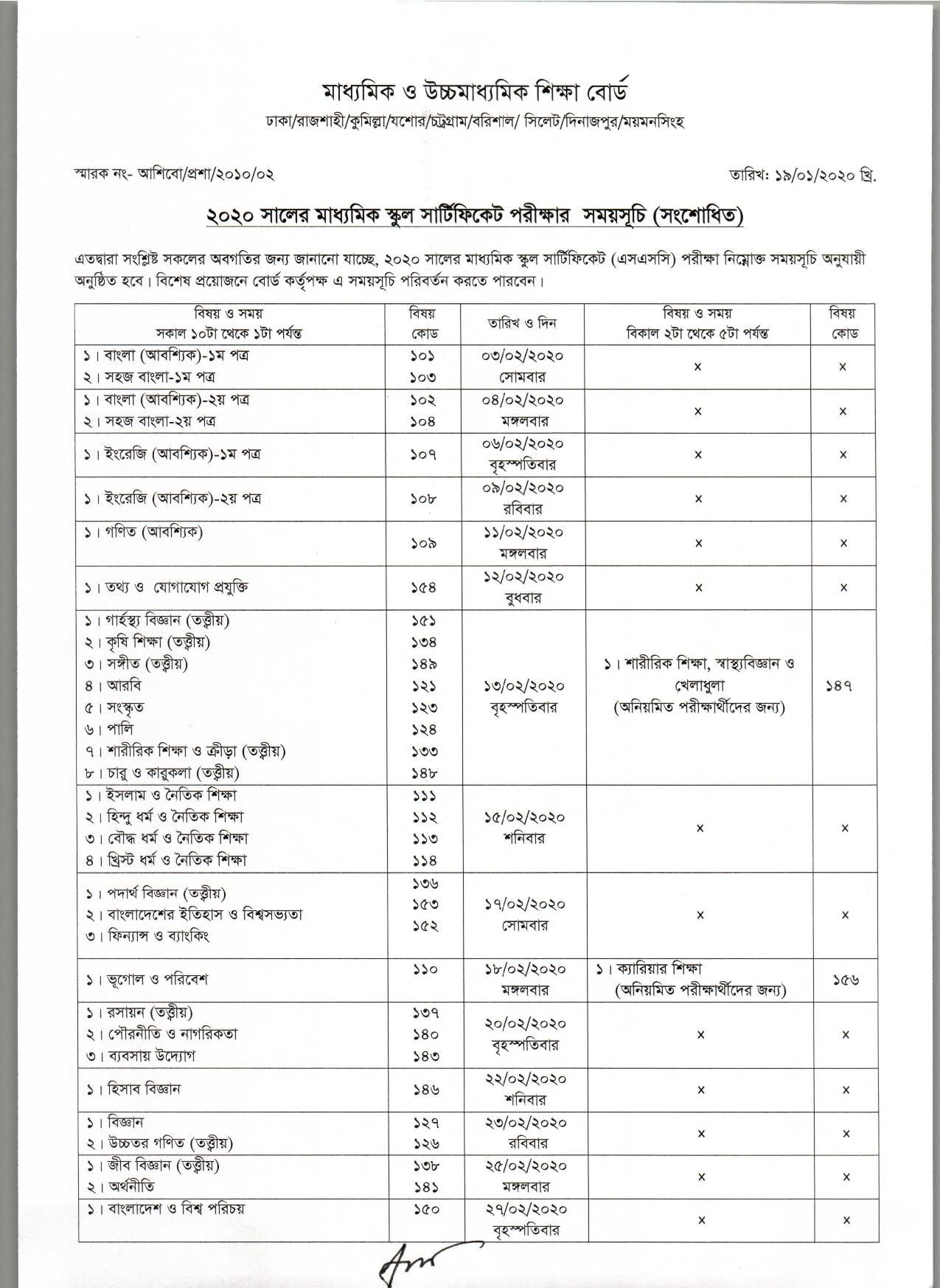 SSC Exam starts in 3rd February (SSC new Exam routine 2020)