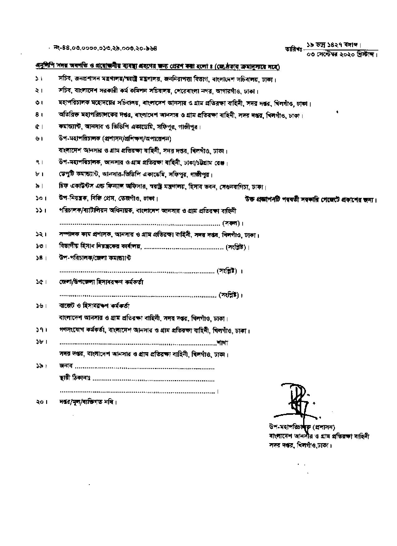 Bangladesh Ansar VDP Job Exam Final Result 2020