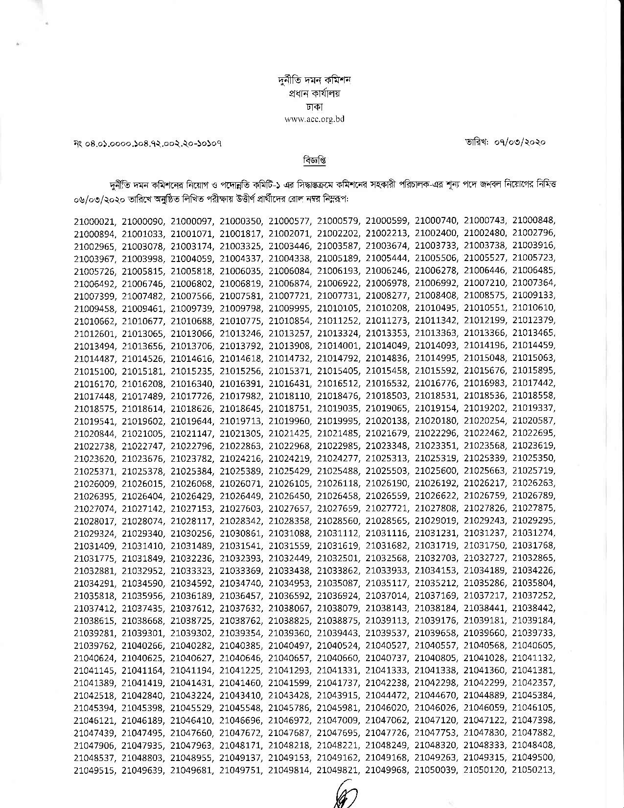 ACC Written exam result viva date and seat plan 2020