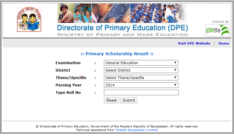 Primary Scholarship Result 2020 | All District Result