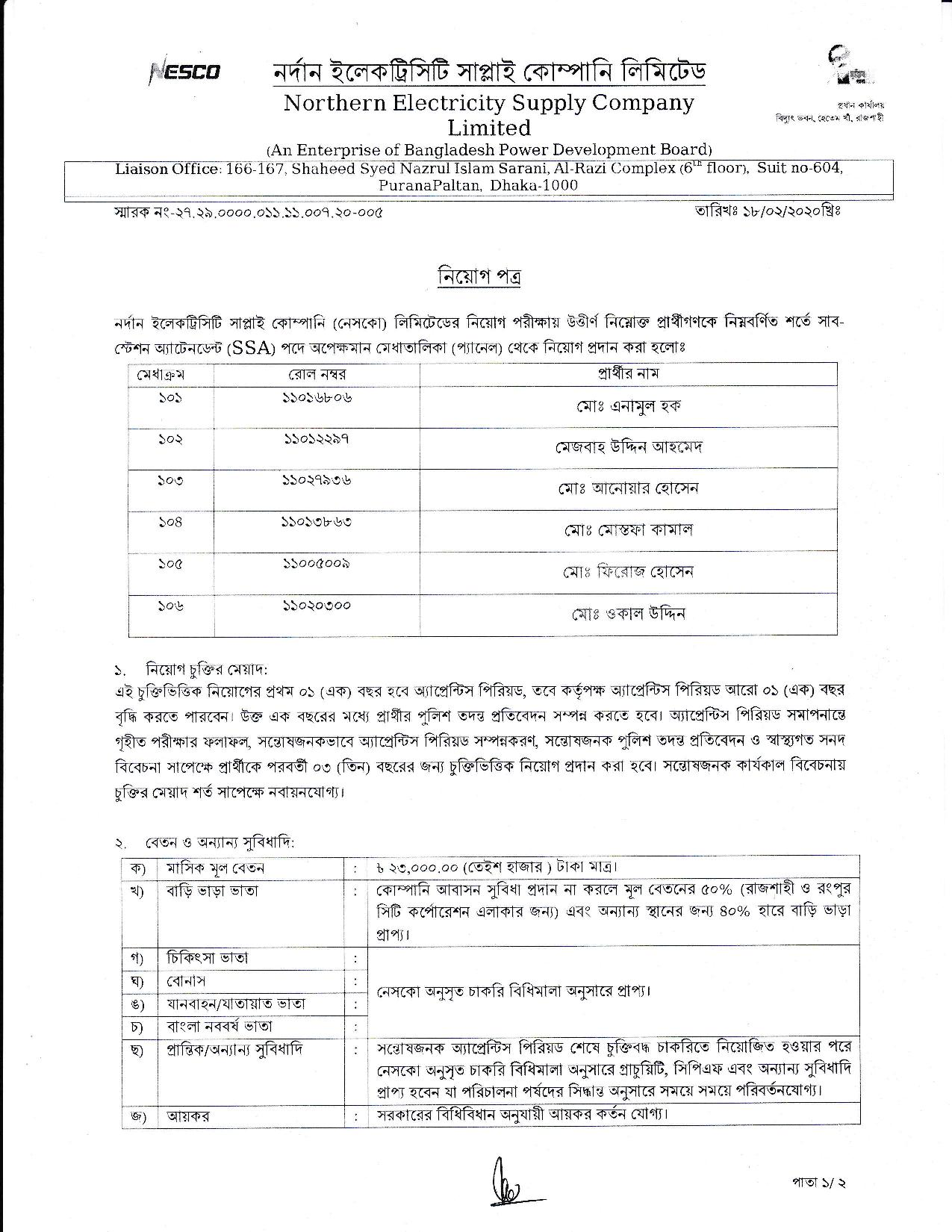 NESCO Waiting list Final appoint result 2020