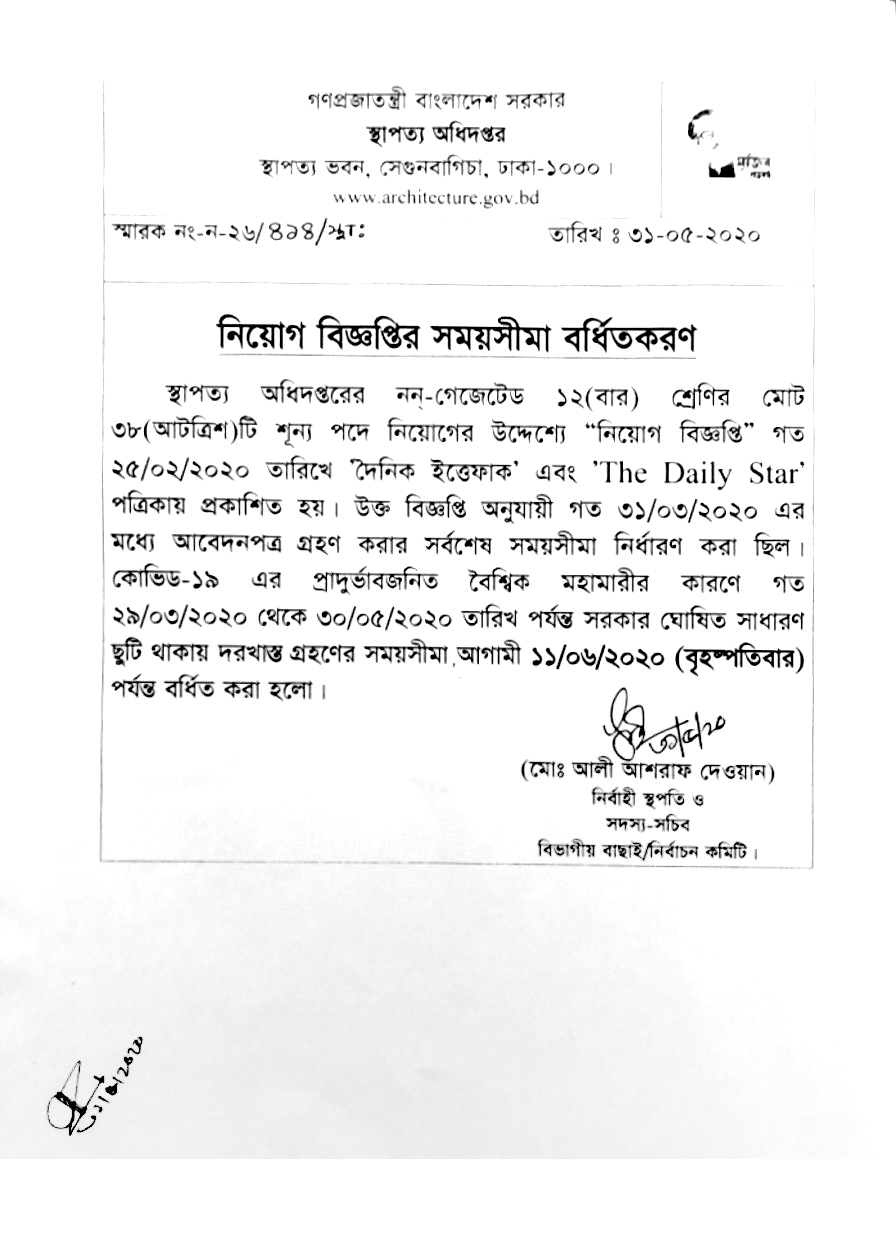 Department of Architecture Job circular 2020   Application Form Download