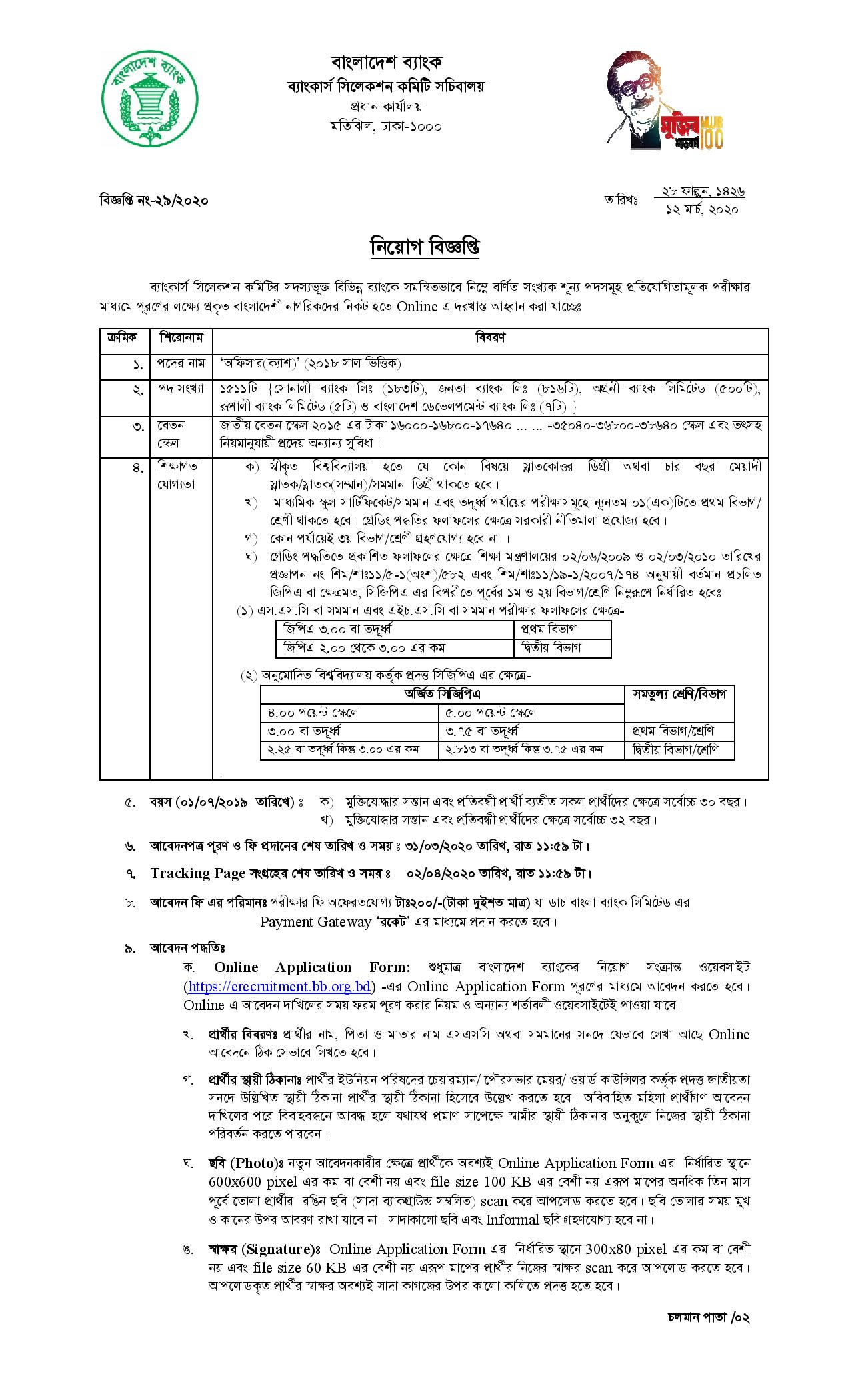 Combined 5 Bank Job circular 2020