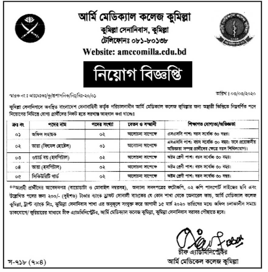 Army Medical College Comilla Job circular 2020