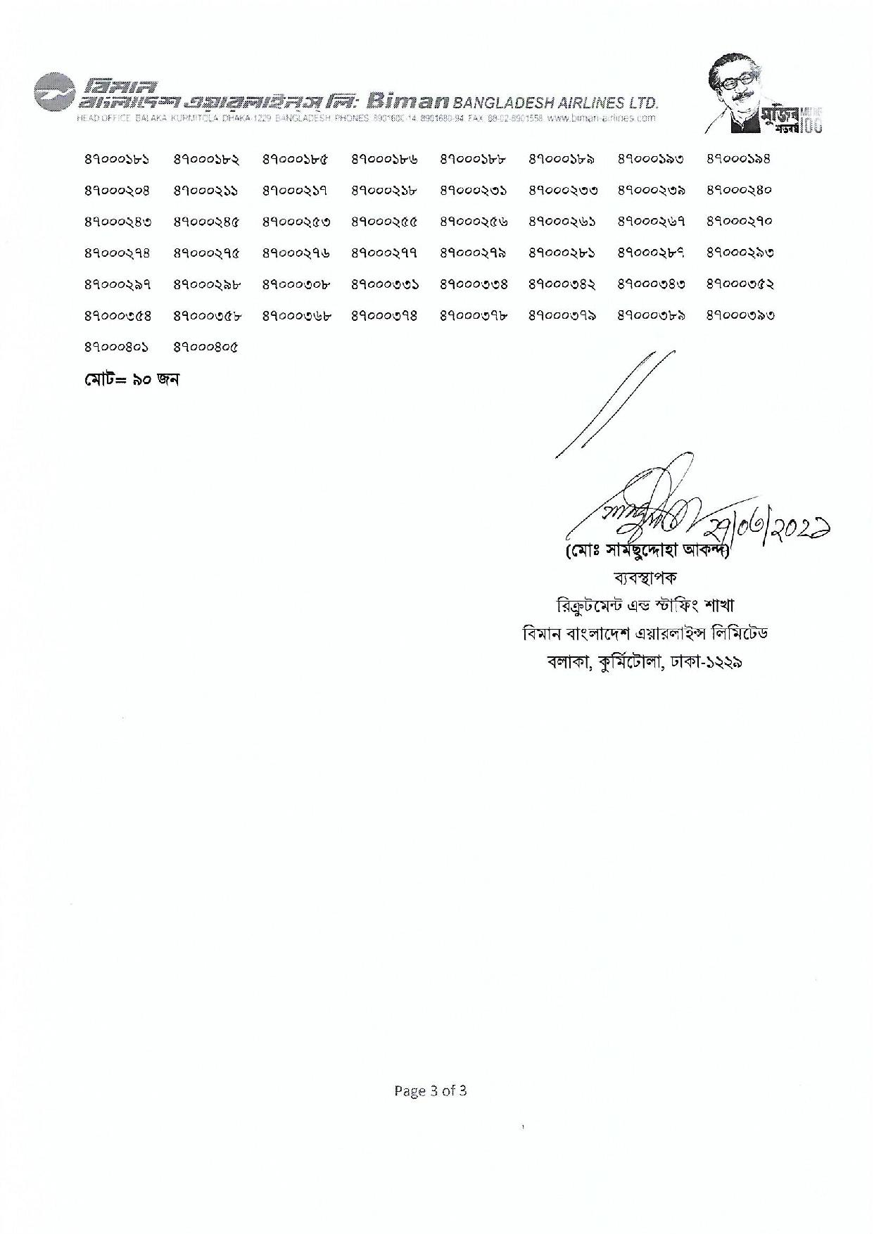 Biman Bangladesh Airlines Limited Exam result and viva date 2021