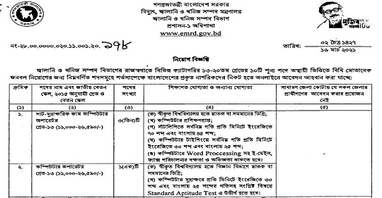 Energy and Mineral Resources Division Job circular 2021