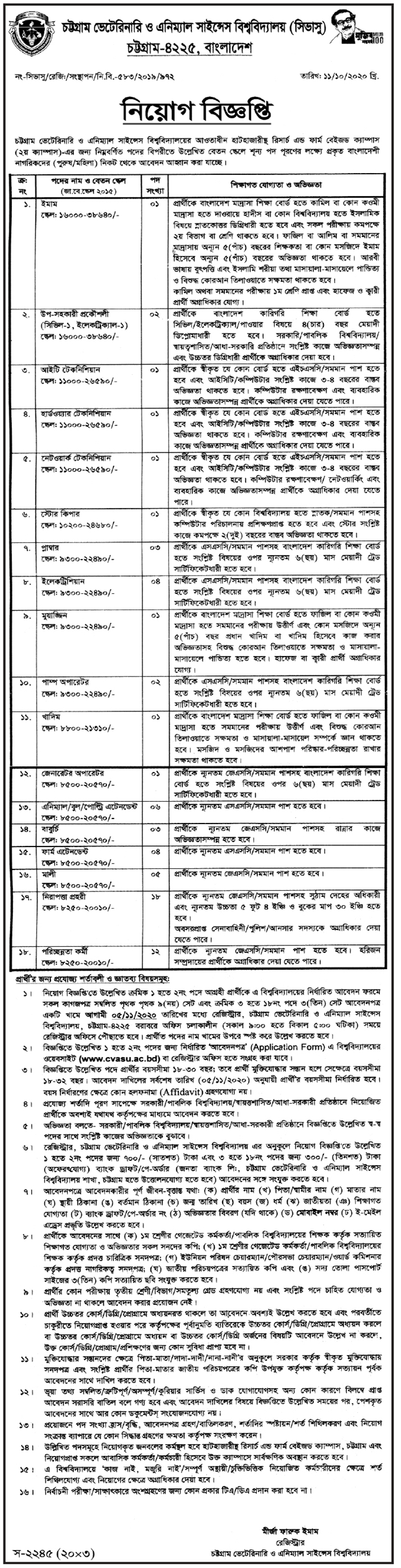 Chattogram Veterinary and Animal Sciences University Job circular 2020