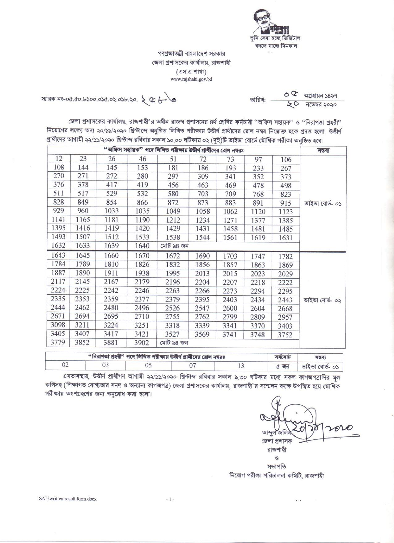 DC Office Rajshahi exam result and Viva date 2020