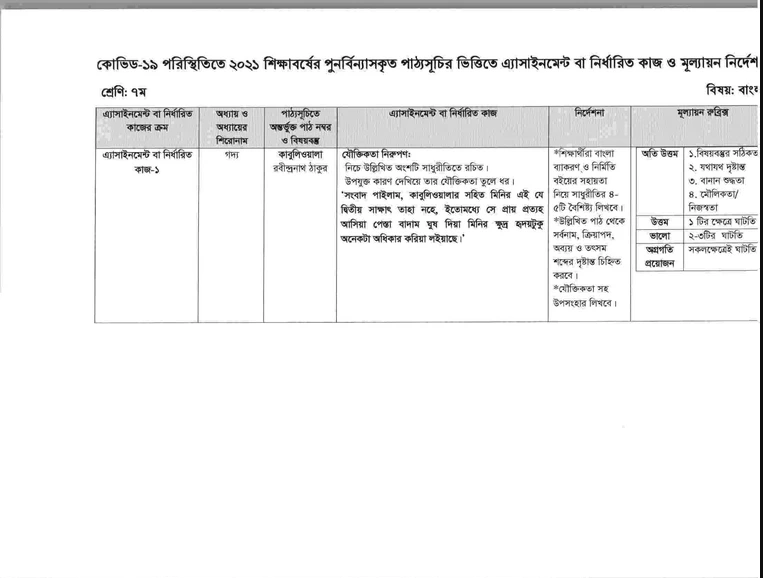 Class 7 First Week Bangla Assignment With Answer 2021